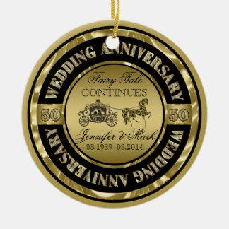 50th Cavalo & carruagem do Aniversário-Casamento Ornamento De Cerâmica Redondo