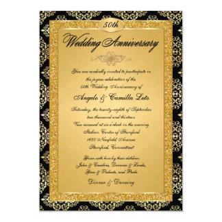 50th Convite  Black do aniversário, damasco do