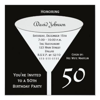 50th Convite de aniversário 50 no preto