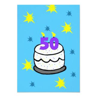 50th Convite de aniversário bolo de 50 velas
