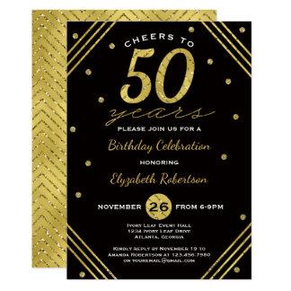 50th Convite de aniversário, elogios, ouro do