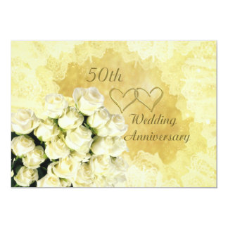 50th Convite do aniversário de casamento com rosas