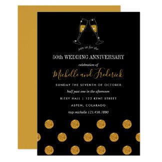 50th Convite do aniversário de casamento dourado