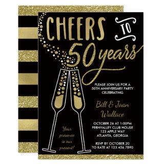 50th Convite do aniversário de casamento, ouro,