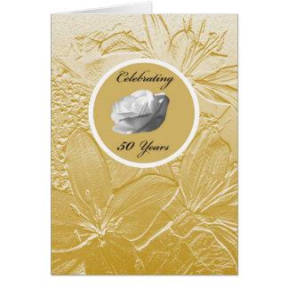 50th Convite do aniversário de casamento -- Ouro Cartão Comemorativo