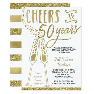 50th Convite do aniversário de casamento, ouro do