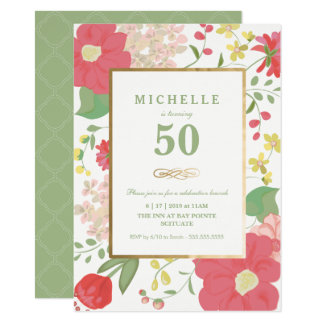 50th Convite do aniversário - ouro, flores
