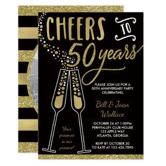50th Convite do aniversário, ouro, preto, foto