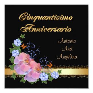 50th convite do comensal do aniversário, italiano