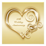 50th Convite do coração do ouro do aniversário