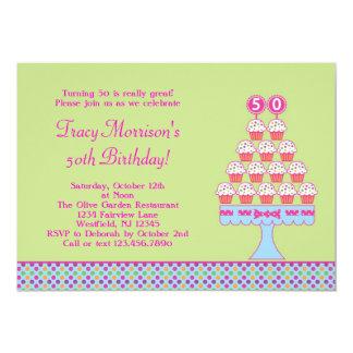50th Convite dos cupcakes do aniversário Convite 12.7 X 17.78cm