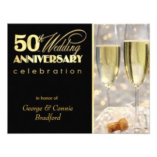 50th Convites da festa de aniversário - ouro preto