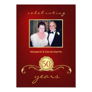 50th Convites da festa de aniversário - vermelho