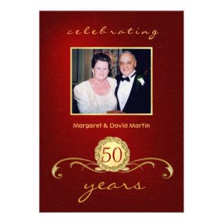 50th Convites da festa de aniversário - vermelho e