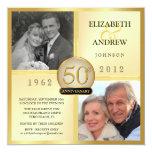 50th Convites da foto do aniversário de casamento Convite Quadrado 13.35 X 13.35cm