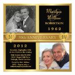 50th Convites da foto dos corações do aniversário