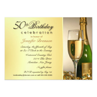 50th convites de festas de aniversários - ouro de