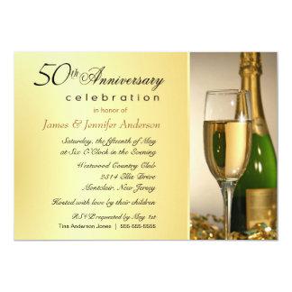 50th convites de festas dourados elegantes de