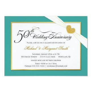 50th Convites do aniversário - cerceta & ouro