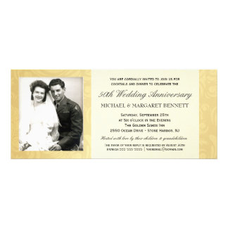 50th Convites do aniversário - damasco do ouro do