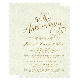 50th Convites do aniversário de casamento dourado