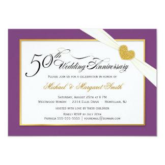 50th Convites do aniversário de casamento - roxo