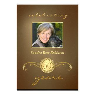 50th Convites do aniversário - monograma antigo do