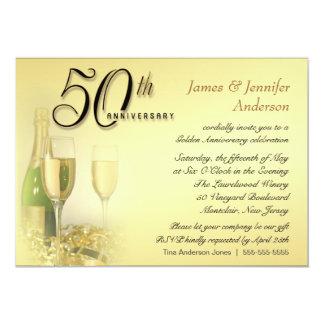 50th Convites dourados da festa de aniversário Convite 12.7 X 17.78cm
