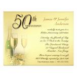 50th Convites dourados da festa de aniversário