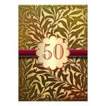 50th convites dourados do aniversário