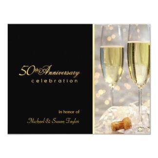 50th convites elegantes da festa de aniversário convite 10.79 x 13.97cm