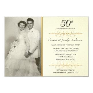 50th convites elegantes da festa de aniversário do