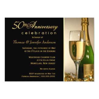 50th convites elegantes da festa de aniversário do convite 12.7 x 17.78cm