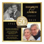 50th convites elegantes da foto do aniversário de convite quadrado 13.35 x 13.35cm