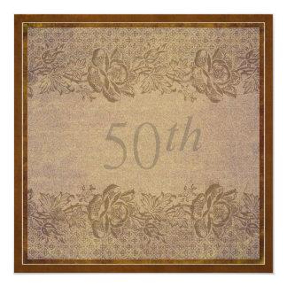 50th Costume floral do ouro da festa de Convite Quadrado 13.35 X 13.35cm