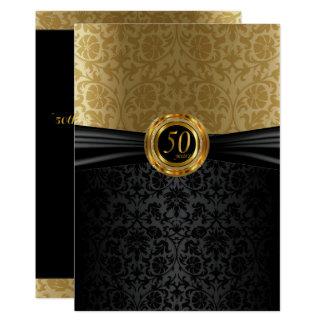 50th Design do damasco do aniversário Convite 12.7 X 17.78cm