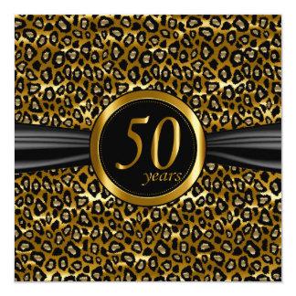50th Design glamoroso exótico do leopardo Convite Quadrado 13.35 X 13.35cm
