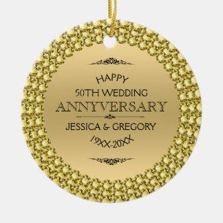 50th diamantes & ouro felizes do aniversário ornamento de cerâmica