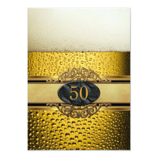 50th Equipa a festa de aniversário preta do ouro Convites
