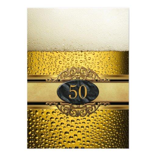 50th Equipa a festa de aniversário preta do ouro d Convites