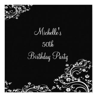 50th festa de aniversário floral preta & branca convite quadrado 13.35 x 13.35cm