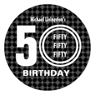 50th Festa de aniversário V01A3 preto e branco Convite