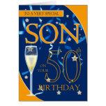 50th Filho do aniversário - vidro de Champagne Cartao