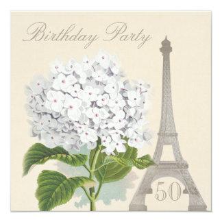 50th Flor branca do Hydrangea do vintage de Paris Convite Quadrado 13.35 X 13.35cm