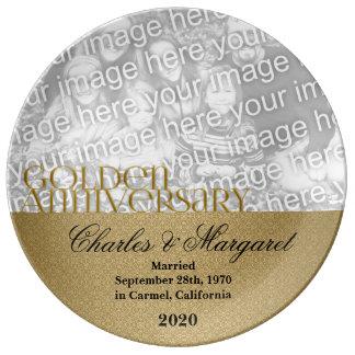 50th Foto do aniversário de casamento dourado Pratos De Porcelana