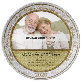50th Foto do aniversário de casamento Prato De Porcelana