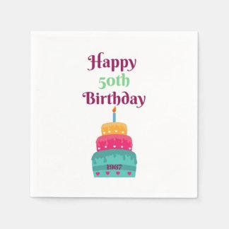 50th guardanapo felizes do bolo de aniversário