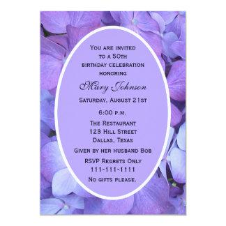 50th Hydrangea do convite de aniversário