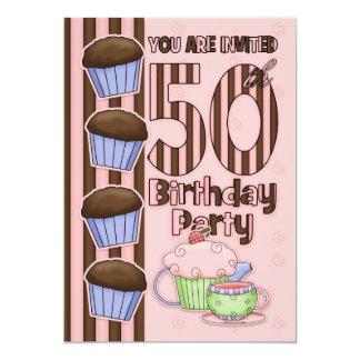 50th Iniciação da festa de aniversário - cupcakes Convite 12.7 X 17.78cm