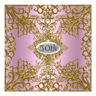50th Jóia cor-de-rosa do convite de festas do